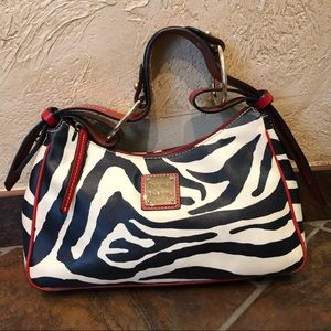 Dooney & Bourke Zebra Print Red Leather Trim Hobo